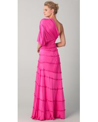 Catherine Malandrino - Pink One Shoulder Gown - Lyst