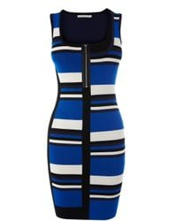 Karen Millen | Blue Tonal Neutral Stripe Knit Dress | Lyst