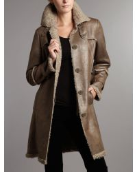 Kenneth Cole - Brown Faux Shearling Belted Trench - Lyst