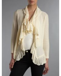 Lauren by Ralph Lauren | Natural Sharnel Cotton Ruffle Cardigan | Lyst