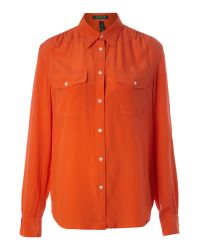 Lauren by Ralph Lauren | Orange Clayton Silk Shirt | Lyst