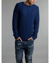 Lyle & Scott | Blue Cable Knit Crew Neck Jumper Navy for Men | Lyst