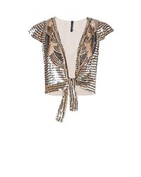 Mango | Metallic Art Deco Beaded Bolero | Lyst