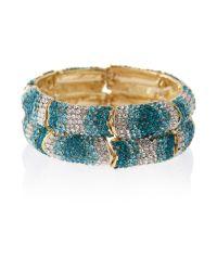 Mikey | Blue Twin Line Elastic Crystal Bracelet | Lyst