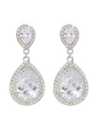 Mikey | White Oval Stone Earrings | Lyst