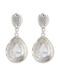 Mikey - White Oval Stone Earrings - Lyst