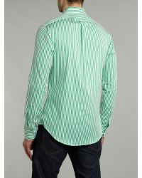 Polo Ralph Lauren | Green Slim-fit Striped Poplin Shirt for Men | Lyst