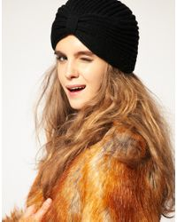ASOS Collection | Black Asos Knitted Turban Hat | Lyst
