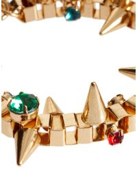 ASOS - Metallic Asos Jewelled Spike Bracelet - Lyst