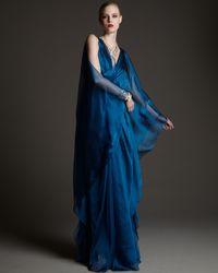 Badgley Mischka | Blue Caftan Gown | Lyst