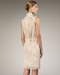 Lyst Badgley Mischka Beaded Laceoverlay Cocktail Dress