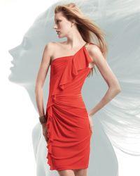 David Meister - Orange One-shoulder Ruffled Cocktail Dress - Lyst