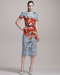 Dolce & Gabbana | Red Printed Peplum Hem Column Dress | Lyst