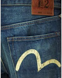 Evisu - Blue Evisu Washed Selvage Straight Jeans for Men - Lyst