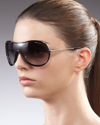 Jimmy Choo | Black Anouk Shield Sunglasses Havana | Lyst