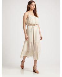 Joie | Beige Silk Pintuck Dress | Lyst