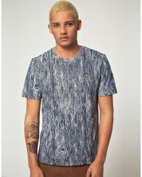 Lacoste L!ive - Blue Lacoste Live Slim Fit Woodgrain Tshirt for Men - Lyst