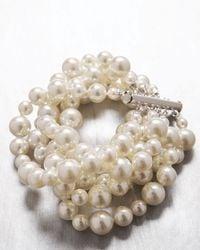 Majorica - White Six-row Cuff Bracelet - Lyst