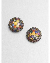 M.c.l  Matthew Campbell Laurenza | Pavé Multicolored Sapphire Button Earrings | Lyst