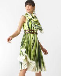 Oscar de la Renta | Yellow Silk Palm Print Dress | Lyst