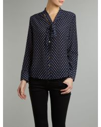 Pied a Terre | Black Silk Polka Dot Tie Neck Blouse | Lyst