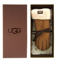 UGG | Brown Shearling Turn-cuff Gloves | Lyst