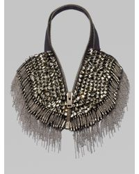Vera Wang | Gray Glass Stone Chain Fringe Zip Necklace | Lyst