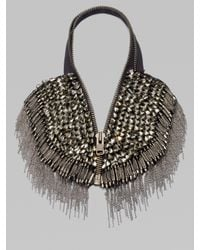 Vera Wang - Gray Glass Stone Chain Fringe Zip Necklace - Lyst
