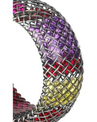 Bottega Veneta | Metallic Enameled Oxidizedsilver Cage Bracelet | Lyst