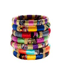 Cara | Multicolor Mixedfabric and Gold Bangle | Lyst