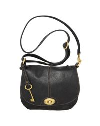 Fossil - Black Carson Flap Crossbody Bag - Lyst