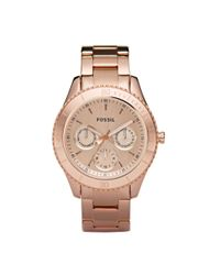 Fossil | Pink Women'S Stella Rose Gold-Tone Stainless Steel Bracelet Watch 37Mm Es2859 | Lyst