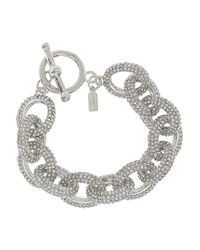 Kenneth Jay Lane - Metallic Silverplated Pavé Crystal Chain Bracelet - Lyst