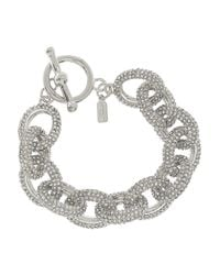 Kenneth Jay Lane | Metallic Silverplated Pavé Crystal Chain Bracelet | Lyst