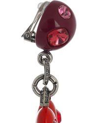 Lanvin - Red Swarovski Crystal Heart Clip Earrings - Lyst
