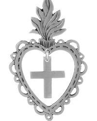 Laurent Gandini - Metallic Sterling Silver Heart Drop Earrings - Lyst