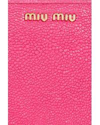 Miu Miu - Pink Stringrayeffect Leather Wallet - Lyst