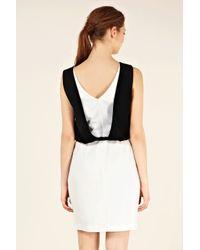 Oasis | Black Drape Back Colour Block Dress | Lyst