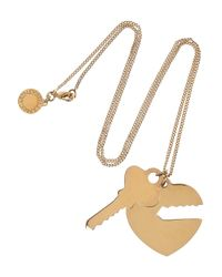 Stella McCartney | Metallic Polished Goldtone Heart and Key Necklace | Lyst
