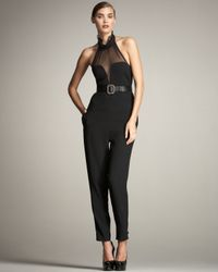 Saint Laurent - Black Chiffon Halter Jumpsuit - Lyst