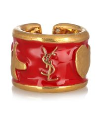 Saint Laurent - Metallic Ycons Enameled Goldplated Ring - Lyst