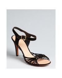 Celine | Black Knotted Suede Ankle Strap Heels | Lyst