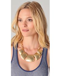 Kenneth Jay Lane - Metallic Satin Gold Bib Necklace - Lyst