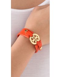 Tory Burch - Orange Logo Skinny Double Snap Cuff - Lyst