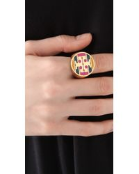 Tory Burch - Metallic Enamel Striped Logo Ring Magenta - Lyst