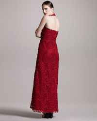 Valentino - Red Lace Halter Gown - Lyst