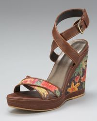 Stuart Weitzman | Brown Ankle-wrap Wedge Sandal | Lyst