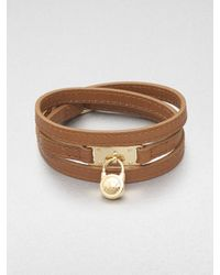 Michael Kors - Brown Logo Padlock Accented Leather Wrap Bracelet - Lyst