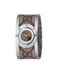 Gucci - Brown Swiss Twist Stainless Steel and Canvas Bangle 23mm - Lyst
