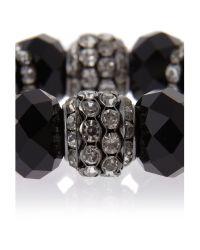 Mikey - Black Crystal Large Bead Bracelet - Lyst